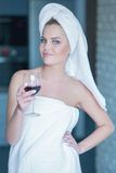 Lady holding glass of wine relaxing Royalty Free Stock Photo