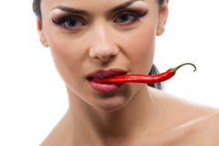 Lady holding red chilli peppers Royalty Free Stock Photo