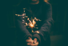 Lady Holding Sparkler Royalty Free Stock Image