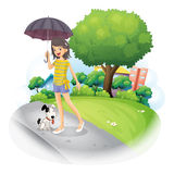 A lady holding an umbrella with a dog along the road Stock Photography