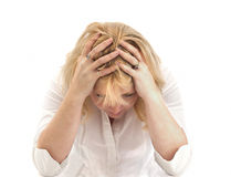Lady holds her head in resignation Royalty Free Stock Photo