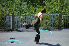 A lady with hoola hoops in alaska Royalty Free Stock Photography