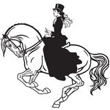 Lady on a horse black white Stock Photography