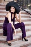 Lady i en hatt Royaltyfri Fotografi