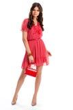 Lady i röd klänning Arkivfoto