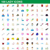 100 lady icons set, cartoon style. 100 lady icons set in cartoon style for any design vector illustration Vector Illustration