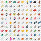 100 lady icons set, isometric 3d style. 100 lady icons set in isometric 3d style for any design vector illustration Royalty Free Stock Photo