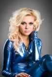 Lady im blue royalty free stock image