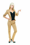 Lady In Gold Suit Royalty Free Stock Photos