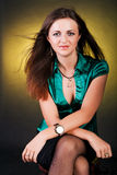 Lady In Green Blouse Royalty Free Stock Photography