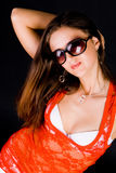 Lady In Red Blouse Stock Photo