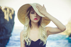 Free Lady In Straw Hat Stock Photography - 46308862