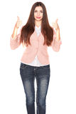 Lady in jeans and blazer, isolated on white Stock Photos