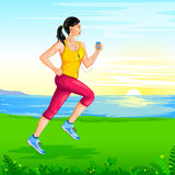 Lady jogging for wellness Stock Photography