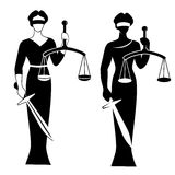 Lady justice black. Lady justice. Themis. Vector illustration silhouette of Themis statue holding scales balance and sword isolated on white background. Symbol Stock Image
