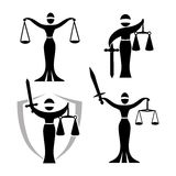 Lady justice black set. Lady justice. Themis. Vector illustration silhouette of Themis statue holding scales balance and sword isolated on white background Stock Photos