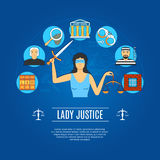 Lady Justice Concept Icons Stock Image