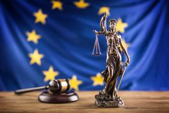 Lady Justice and European Union flag. Symbol of law and justice. With EU Flag Royalty Free Stock Images