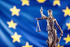 Lady Justice and European Union flag. Symbol of law and justice. With EU Flag Royalty Free Stock Photography
