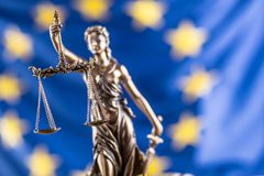 Lady Justice and European Union flag. Symbol of law and justice. With EU Flag Stock Photos