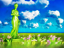 Lady of justice and flowers, 3d illustration Royalty Free Stock Image