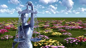 Lady of justice and flowers - 3d illustration Stock Image
