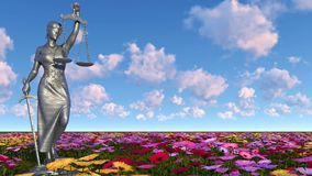 Lady of justice and flowers - 3d illustration Royalty Free Stock Image