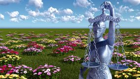 Lady of justice and flowers - 3d illustration Royalty Free Stock Photos
