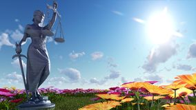 Lady of justice and flowers - 3d illustration Stock Photos