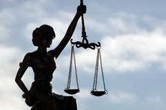 Lady Justice freed under the sky royalty free stock photo