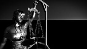 Lady of justice on gallows 3d rendering Royalty Free Stock Photo