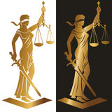 Lady justice Gold. Lady justice. Themis. Vector illustration silhouette of Themis statue holding scales balance and sword isolated on white background. Symbol of Royalty Free Stock Photos