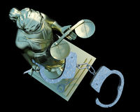 Lady of Justice & handcuffs Stock Photo