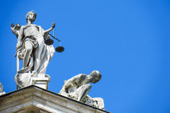 Lady justice. Justitia statue on the bavarian justice ministry with copy space to the right Stock Photo