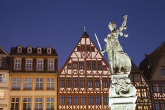 Lady Justice statue. Night photo of statue of Lady Justice statue in Frankfurt royalty free stock images