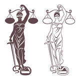 Lady justice Themis. Lady justice. Themis. Vector illustration silhouette of Themis statue holding scales balance and sword isolated on white background. Symbol Royalty Free Stock Photo