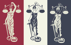 Lady justice Themis 3. Vector illustration silhouette  of Themis statue holding scales balance and sword isolated on colored background. Symbol of justice, law Stock Photography