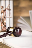 Lady of justice, Wooden & gold gavel and books Stock Image