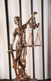 Lady of justice, Wooden & gold gavel and books Royalty Free Stock Image