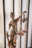 Lady of justice, Wooden & gold gavel and books Stock Photo