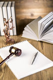 Lady of justice, Wooden & gold gavel and books Stock Photos