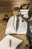 Lady of justice, Wooden & gold gavel and books Royalty Free Stock Photos