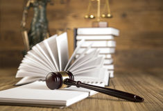 Lady of justice, Wooden & gold gavel and books Royalty Free Stock Images