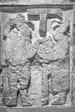 Lady K`abal Xook hands her husband, king Itzamnaaj Balam III, a jaguar helmet. National Museum of Anthropology, Mexico City Stock Image