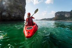 Lady with kayak stock image