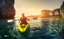 Lady with kayak royalty free stock images