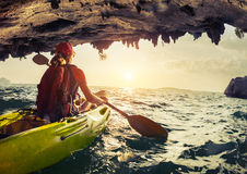 Lady with the kayak royalty free stock photos