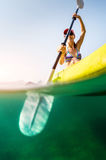 Lady with the kayak stock image