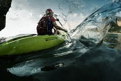 Lady in kayak Stock Photography