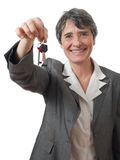 Lady with keys Royalty Free Stock Photos